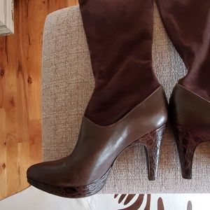 Unique knee high boots with suede upper